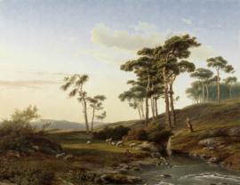 Painted Memories 2 Fotobehang 8042 Eveningmood with a Shepherd/Natuur/Landschap/Bomen/Schapen Dutch Wallcoverings