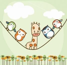 Noordwand  Little Ones Behang 416053 Verticale rope/Giraf/Touw/Wolken/Uilen/Kinderkamer Fotobehang