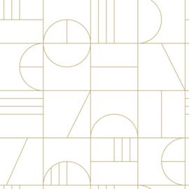 Esta Home Art Deco Behang 156-139141 Art deco Motief/Modern/Lijnen/Wit/Goud