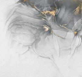 Noordwand Komar Raw Fotobehang RSX6-037 Ink Gold Fluid/Vloeibaar Goud/Grijs/Modern/Natuurlijk