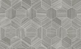 Arte Ligna Behang 42032 Hive/ Hexagon/Exclusief Wandbekleding zilver