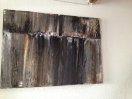 Canvas Schilderij 7 Bruin/Strepen/Modern/Vintage