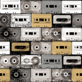 Noordwand #Hashtag Behang 11030 Radio/Tape/Cassettebandjes/60/70 jaren/Vintage/Nostalgisch