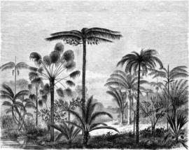 Esta Home Paradise Fotobehang 158952 Palm Trees Engraved/Landschap met palmbomen/Botanisch