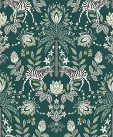 Dutch Wallcoverings/First Class Utopia Behang 91093 Etosha Teal/Dieren/Planten/Zebra/Bloemen/Botanisch/Natuurlijk