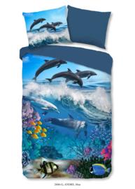 Muller Textiles Dekbedovertrek 2606 Andre Blue/Vissen/Dolfijn/Kids/Kinderkamer/1 Persoons