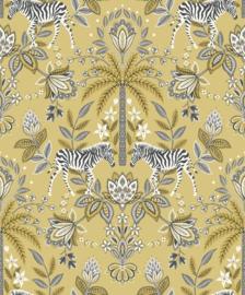 Dutch Wallcoverings/First Class Utopia Behang 91090 Etosha Ochre/Botanisch/Palm/Zebra/Bloemen
