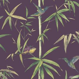 Noordwand Global Fusion Behang G56410 Bamboe/Plant/Vogels/Natuurlijk/Paars