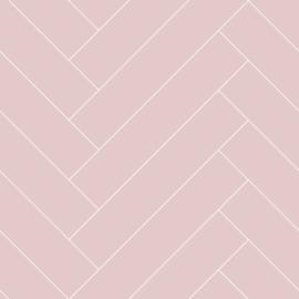 Esta Home Art Deco Behang 156-139220 Visgraat/Planken/Hout/Modern/Landelijk/Roze