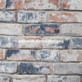 Noordwand Kids@Home Individual Behang 108596 Distressed Brick Navy Red/Stenen/Landelijk/Modern