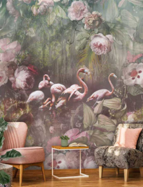 Behangexpresse Floral-Utopia Fotobehang INK7553 Flamingo Found Dark/Tropisch/Bloemen