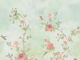 BN Wallcoverings/Voca Fiore Mural 200457 Rose Garden/Rozen/Bloemen/Vogels Fotobehang
