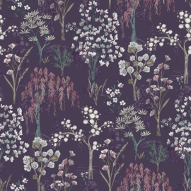 Dutch Wallcoverings/First Class Utopia Behang 91132 Kieder Purple/Botanisch/Planten/Natuurlijk