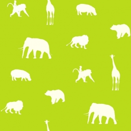 Esta Giggle Behang 137336 Dieren/Animals/Giraf/Olifant/Kinderkamer
