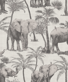 Journeys 610702 Elephant Grove Charcoal Behang - Arthouse/Atwalls