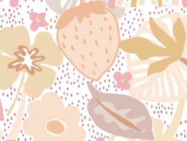 BN Wallcoverings Doodleedo Behang 220770 Strawberry Fields/Aardbeien/Regenboog/Bloemen/Retro