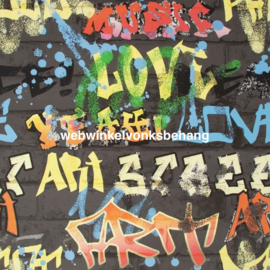 Noordwand Kids@Home Individual Behang 103032 Graffiti Black/Steen/Spuitbus/Verf/Kinderkamer