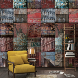 Dutch Wallcoverings One Roll One Motif Behang A40101 NY Patchwork/Steden/New York/Modern