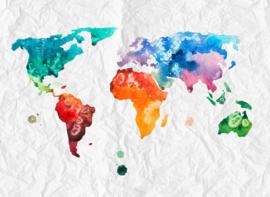 AS Creation Designwalls Fotobehang DD118698 Colorful World 2/Wereldkaart/Modern/Kreuk/Travelling