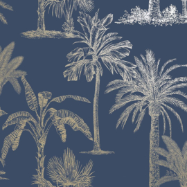 Dutch Wallcoverings Indulgence Behang 12821 Glistening Tropical Trees Navy/Tropical