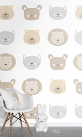 Esta Home Let's Play XXL Wallpaper 158932 Cute Animal Heads/Dierenkoppen/Kinderkamer