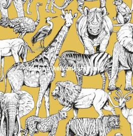 Noordwand Kids@Home Individual Behang 107691 Jungle Animals Jaune/Dieren/Olifant/Giraf/Kinderkamer