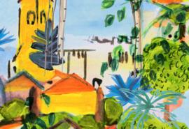 Hookedonwalls Breeze Behang BR24040 Riviera/Tropisch/Palm/Huizen
