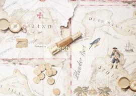Eijffinger Hits4Kids  Behang 351756 Landkaart Piraten Zandkleur