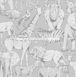 Noordwand Kids@Home Individual Behang 108567 Jungle Animals Grey/Dieren/Grijs/Kinderkamer