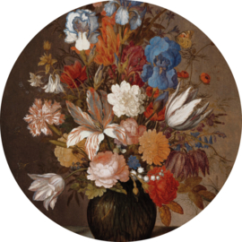 Painted Memories 2 Fotobehang Circle 8038C Still life with Flowers 3/Stilleven/Cirkel/Klassiek/Bloemen Dutch Wallcoverings