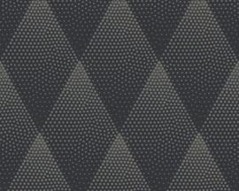 AS Creation New Walls Behang 37419-3 Grafisch/Modern/Ruit/Dots/Zwart/Goud