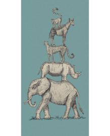 Eijffinger Mini Me Behang 399114 Safari Stack Blue/Vintage/Dieren/Kinderkamer Fotobehang