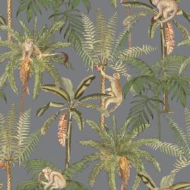 Dutch Wallcoverings/First Class Utopia Behang 91100 Ateles Silver/Apen/Palm/Tropisch