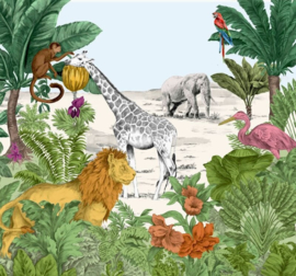 Noordwand Kids@Home Individual Behang 111397 Fotowand Watercolour Jungle/Dieren/Kinderkamer Behang