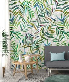 Behangexpresse Colorful Behang INK7309 Big leaves wall/Botanisch/Bladeren/Planten/Natuurlijk Fotobehang