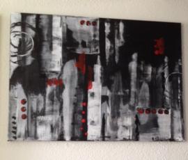 Schilderij  1  Kunst/Abstract/Modern/Vintage/Zwart/Rood