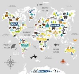 Noordwand Kids@Home Individual Fotobehang 111398 World Map Wall Mural/Wereldkaart/Dieren/Kinderkamer