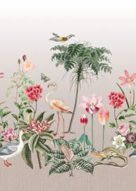 Behangexpresse Checking out Nature Fotobehang TD4137 Rosea/Botanisch/Bloemen/Flamingo/Vlinder/Vogels Behang
