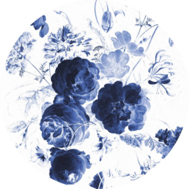 KEK Amsterdam Fotobehang Circle CK-001 Royal Blue Flowers/Bloemen/Blauw