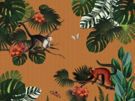 BN Studios/BN Wallcoverings Mijke Konijn Murals Fotobehang 200381 Monkey Forest/Apen/Vlinders/Botanisch