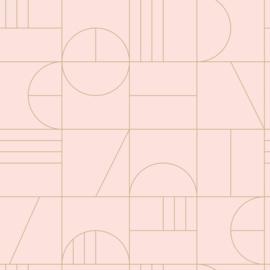 Esta Home Art Deco Behang 156-139207 Grafisch/Modern/Lijnen/Roze/Goud