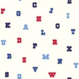 Esta Home Giggle Behang 137326 Letters/Alfabet/Kinderkamer/Blauw/Rood