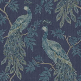 Arthouse Katarina 292101 Lazzaro Blue/Vogel/Pauw/Klassiek/Blauw Behang