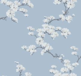 Dutch Wallcoverings Navy, Grey & White Behang BL70512 Bloemen/Takken/Botanisch/Floral/Blauw
