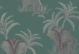 Hookedonwalls Exotique Behang 17303 Tembo/Dieren/Olifant/Groen