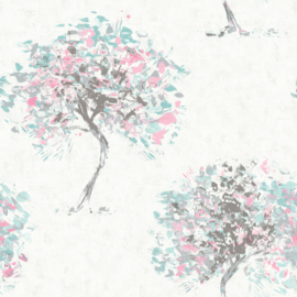 Dutch Wallcoverings Kaleidoscope Behang 90652 Beacon Fell Duckegg Pink/Bomen/Natuurlijk/Roze