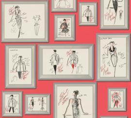 AS Creation Karl Lagerfeld Behang 37846-2 Schetsen/Mode/Fotolijst
