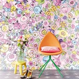Eijffinger Raval Behang 341601 Fleurflor Pink/Floral/Bloemen/Modern/Pastel Fotobehang