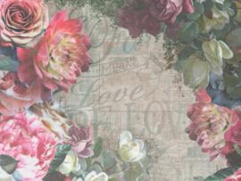 BN Walls/BN Wallcoverings Riviera Maison Murals Fotobehang 30609 Bloemen/Tekst/Landelijk/Romantisch