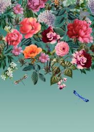 Dutch Wallcoverings/First Class Utopia Behang 99341 Majorelle Mural Teal/Bloemen/Libelle